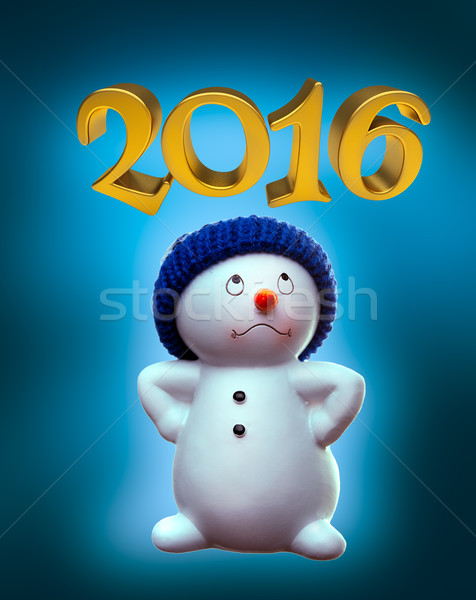 Snowman and 2016 Stock photo © Supertrooper
