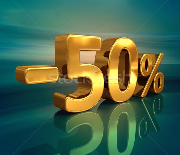 3D goud 50 minus vijftig procent Stockfoto © Supertrooper