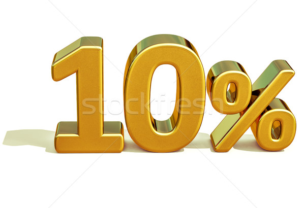 3D ouro 10 dez por cento desconto Foto stock © Supertrooper