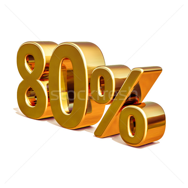 3d Gold 80 Eighty Percent Discount Sign Stock photo © Supertrooper
