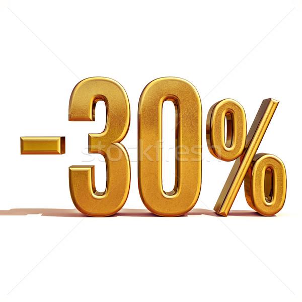 3D золото 30 процент скидка знак Сток-фото © Supertrooper