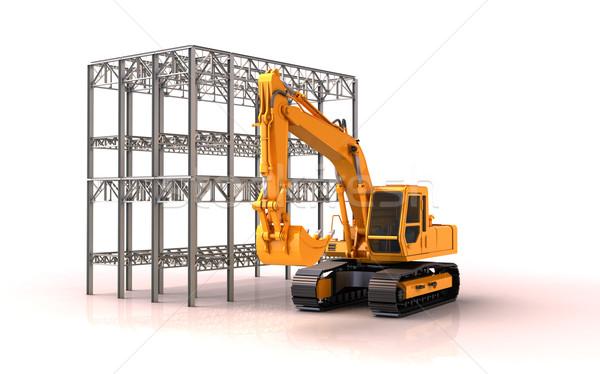 épület helyszín fém építkezés kotrógép fehér Stock fotó © Supertrooper
