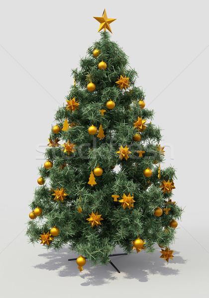 Foto stock: árvore · de · natal · decorações · cinza · cor · objeto · férias