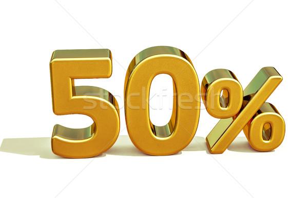 3D Gold 50 fünfzig Prozent Zeichen Stock foto © Supertrooper