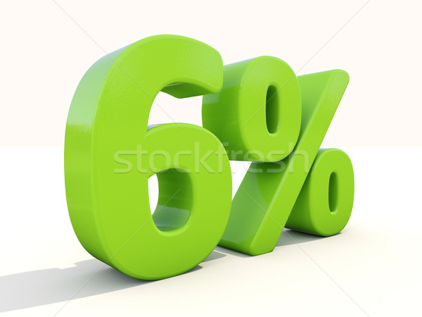 6% percentage rate icon on a white background Stock photo © Supertrooper