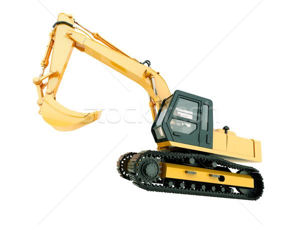 Kotrógép izolált építkezés nehéz gép fehér Stock fotó © Supertrooper