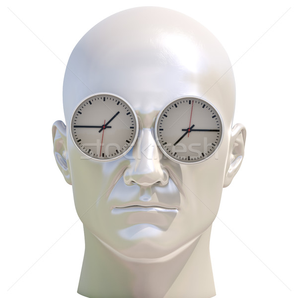 Temps 3d illustration humaine tête affaires rendez-vous Photo stock © Supertrooper