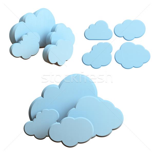 Felhő alapú technológia kék felhők izolált fehér számítógép Stock fotó © Supertrooper