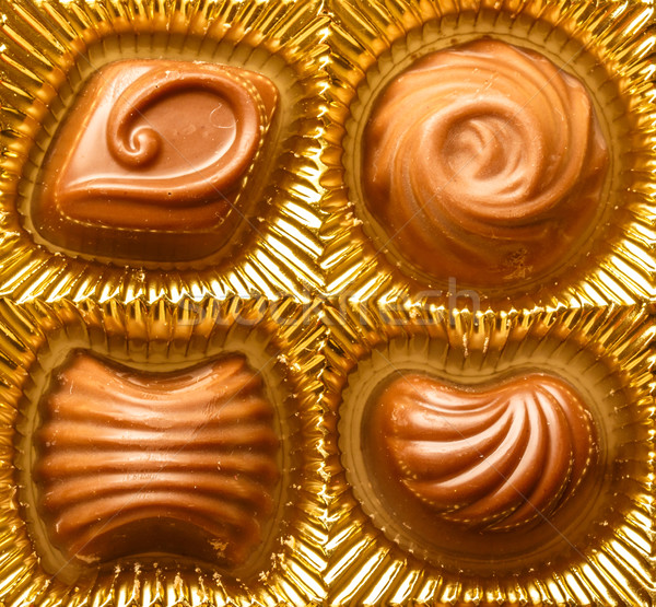 Chocolate sweets close up Stock photo © Supertrooper
