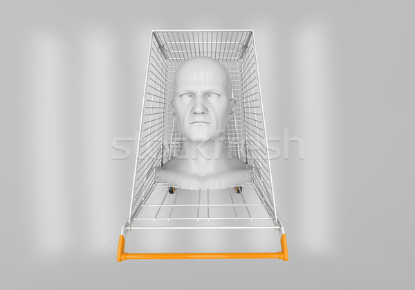 Man's head in the shopping cart Stock photo © Supertrooper