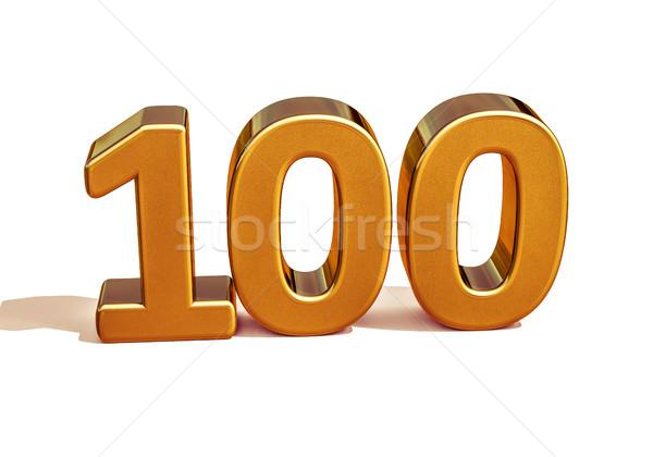 Stok fotoğraf: Altın · 3D · yıldönümü · imzalamak · doğum · günü · 100