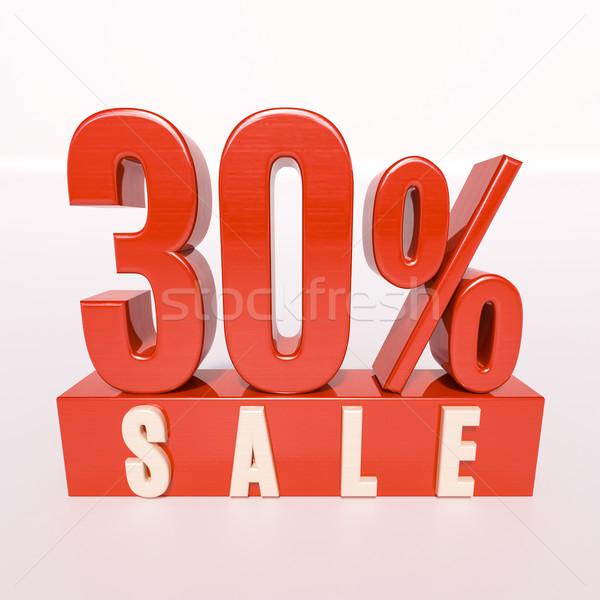 Százalék felirat 30 százalék 3d render piros Stock fotó © Supertrooper