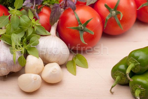 Vegetal ingredientes cozinha mediterrânea pronto cozinha verde Foto stock © Supertrooper