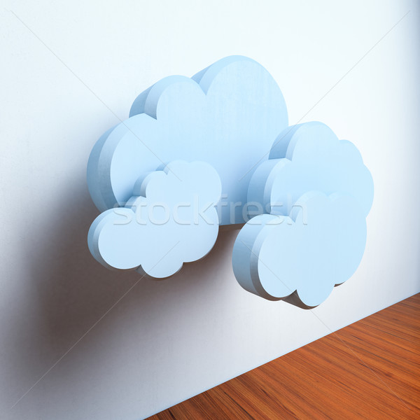 Blauw wolken beton exemplaar ruimte abstract Stockfoto © Supertrooper