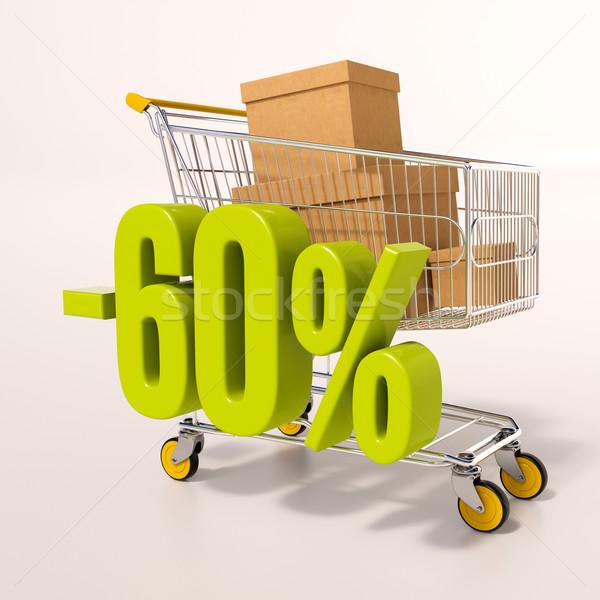Stok fotoğraf: Alışveriş · sepeti · 60 · yüzde · 3d · render · yeşil · yüzde