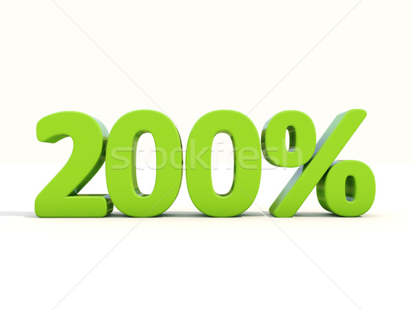 200% percentage rate icon on a white background Stock photo © Supertrooper