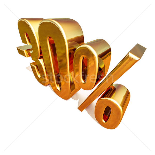 Foto stock: 3D · ouro · 30 · por · cento · desconto · assinar