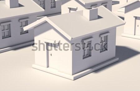 Basit beyaz ev ışık yansımalar Bina ev Stok fotoğraf © Supertrooper