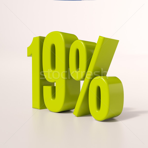 процент знак 19 процент 3d визуализации зеленый Сток-фото © Supertrooper