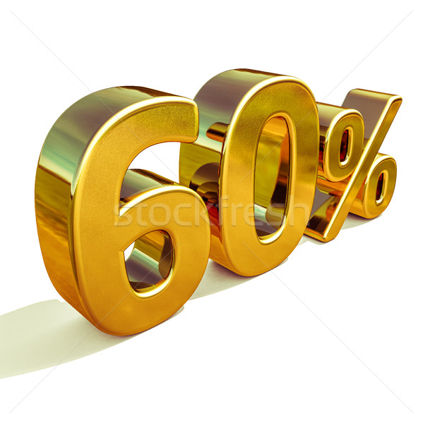 3d Gold 60 Sixty Percent Discount Sign Stock photo © Supertrooper