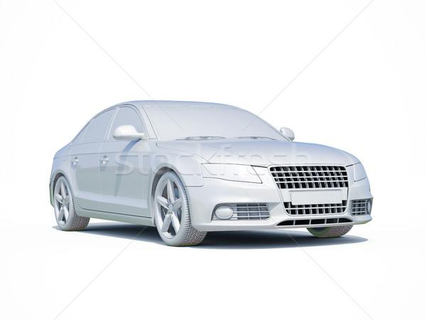 3D auto bianco modello rendering 3d icona Foto d'archivio © Supertrooper