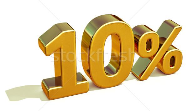 3D oro 10 dieci cento sconto Foto d'archivio © Supertrooper