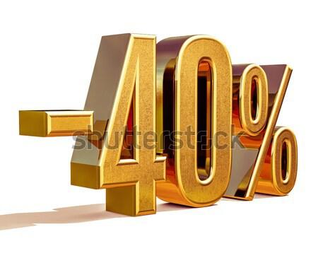 Stockfoto: Goud · 40 · minus · veertig · procent · korting