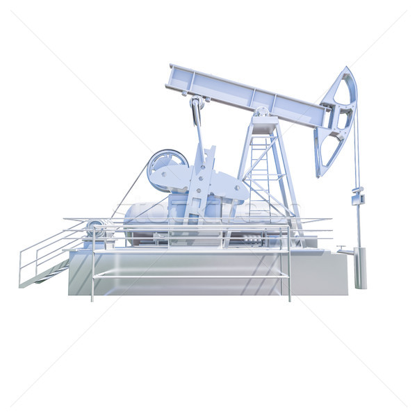 Stock photo: ISOLATED Oil Drilling Rig on White Background