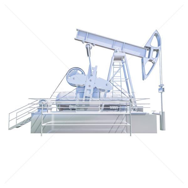 Izolált olaj olajfúró sziget fehér pumpa olajipar Stock fotó © Supertrooper