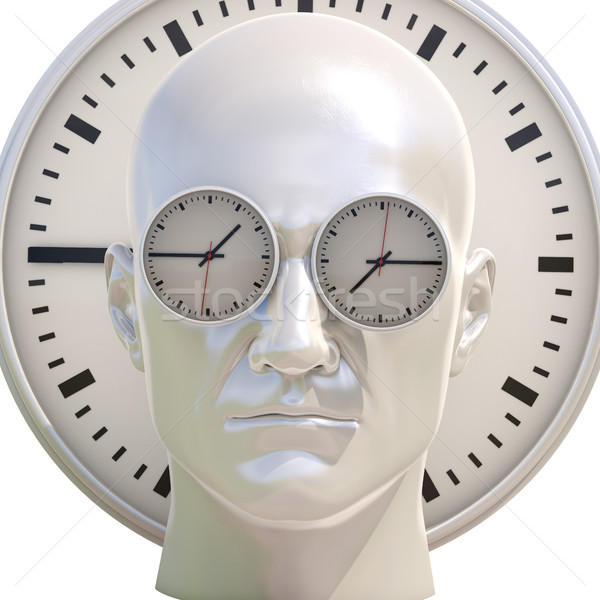 Time Concept 3D Illustration: Human Head  and Time, Business Punctuality, Appointment Stress, Deadli Stock photo © Supertrooper