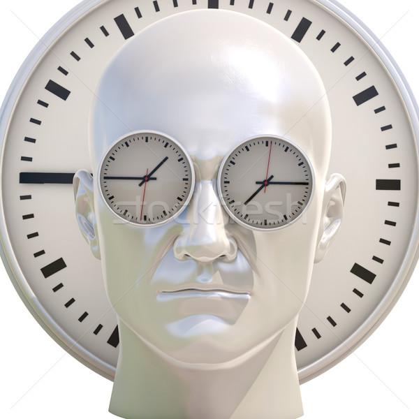 Tempo illustrazione 3d umani testa business appuntamento Foto d'archivio © Supertrooper