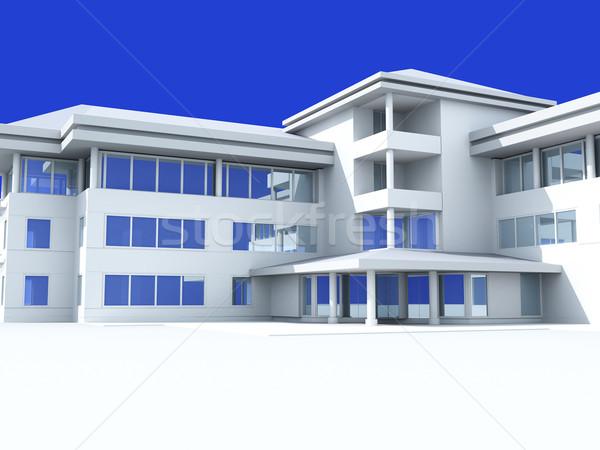 Nowoczesne świetle budynku przewiewny biurowiec Błękitne niebo Zdjęcia stock © Supertrooper