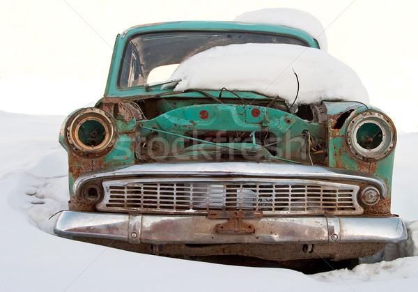 Stary samochód podziale śniegu samochodu metal transportu Zdjęcia stock © Supertrooper