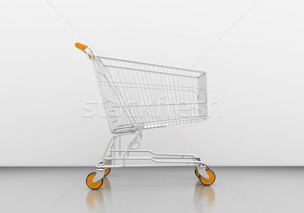 Bevásárlókocsi üres szürke stúdió üzlet marketing Stock fotó © Supertrooper