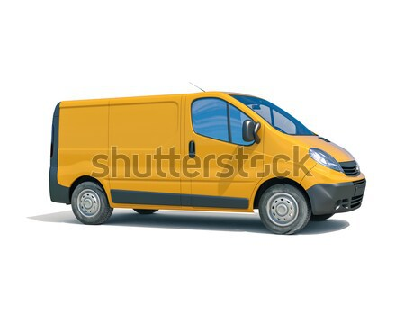 Kereskedelmi furgon izolált citromsárga fehér üzlet Stock fotó © Supertrooper