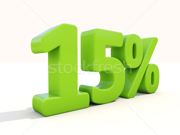 15% percentage rate icon on a white background Stock photo © Supertrooper