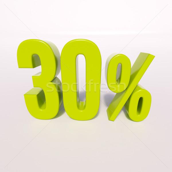 Százalék felirat 30 százalék 3d render zöld Stock fotó © Supertrooper