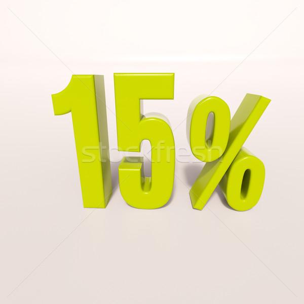 Százalék felirat 15 százalék 3d render zöld Stock fotó © Supertrooper