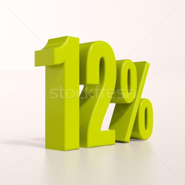 Percentuale segno 12 cento rendering 3d verde Foto d'archivio © Supertrooper