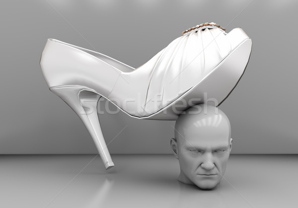 Man's head under a female heel  Stock photo © Supertrooper