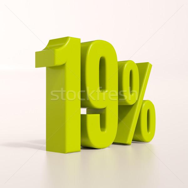 Pourcentage signe 19 pour cent rendu 3d vert Photo stock © Supertrooper