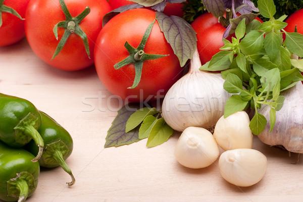 Verdura ancora vita pomodori peperoni aglio basilico Foto d'archivio © Supertrooper