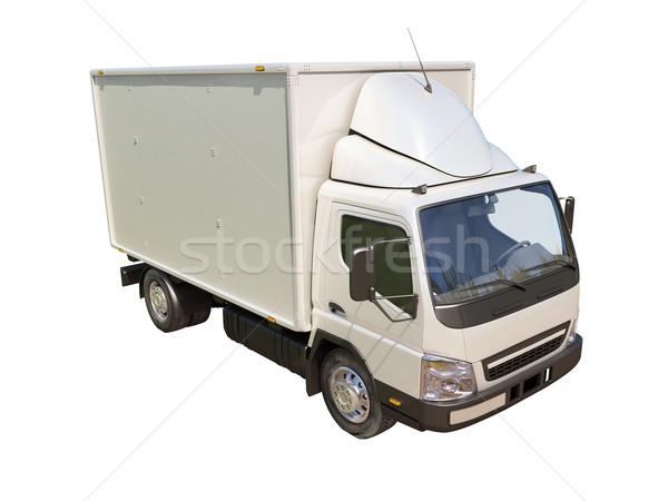 Witte commerciële vrachtwagen geïsoleerd kleur vervoer Stockfoto © Supertrooper