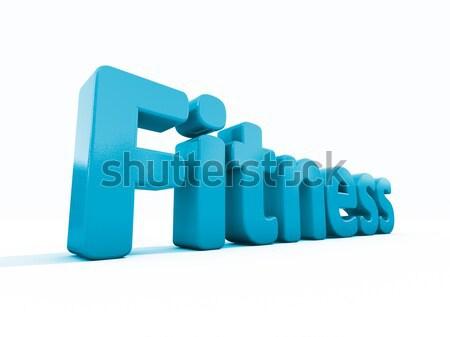 3D mot fitness icône blanche 3d illustration Photo stock © Supertrooper