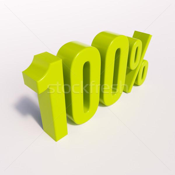 Százalék felirat 100 százalék 3d render zöld Stock fotó © Supertrooper