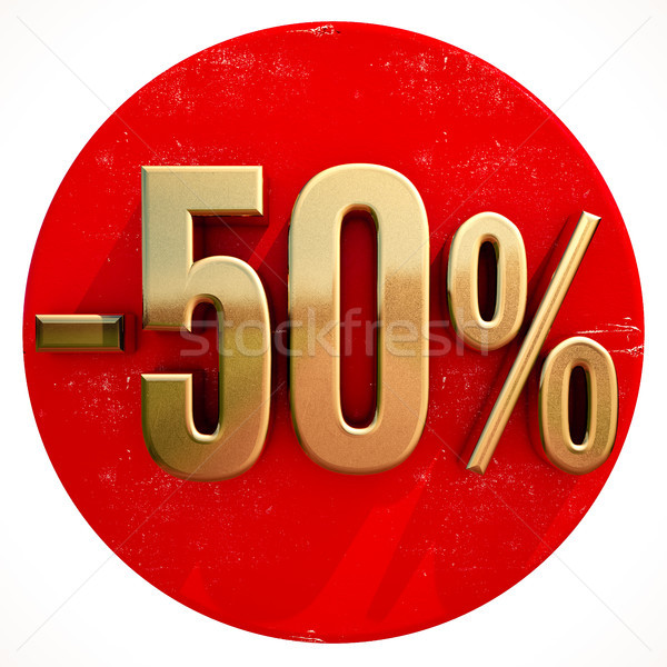 Gold 50 Percent Sign on Red Stock photo © Supertrooper
