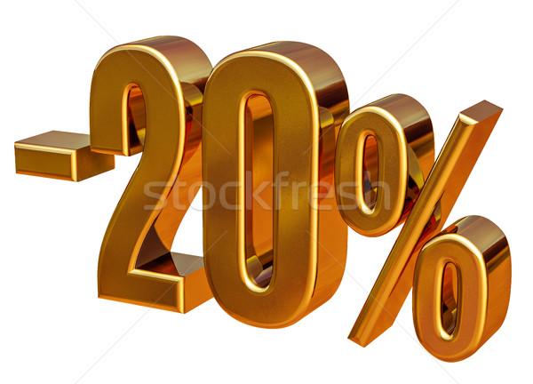 3D arany 20 húsz százalék árengedmény Stock fotó © Supertrooper