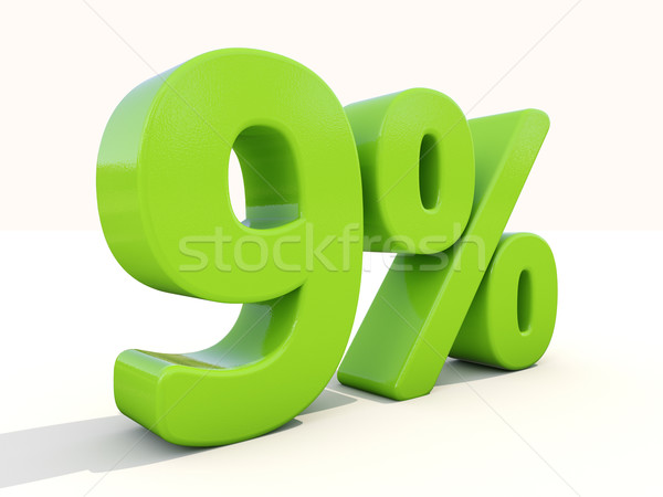 9% percentage rate icon on a white background Stock photo © Supertrooper