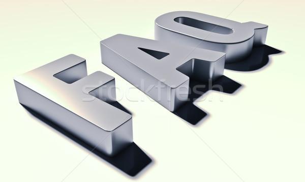 Siglas preguntas frecuentes metal cartas sombra luz Foto stock © Supertrooper