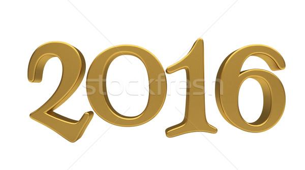 Arany 2016 izolált új év 3d szöveg Stock fotó © Supertrooper